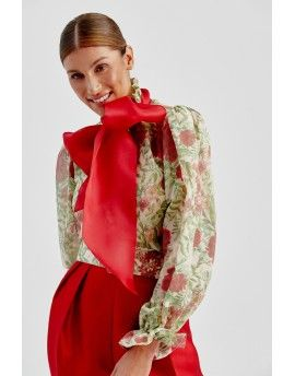 Xmas Flora blouse with bow